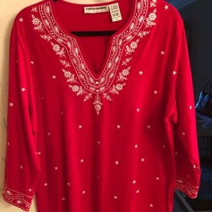 Cathy Daniels Embroidered Knit Top